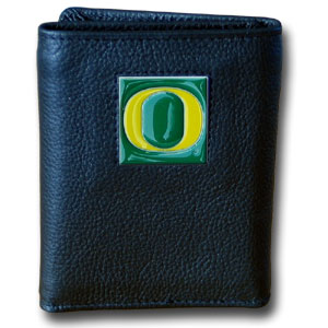 College Tri-fold - Oregon Ducks - Our College collectors leather/nylon tri-fold wallet features a sculpted and hand painted team square on a black leather trifold. Includes an ID window, slots for credit cards and clear plastic photo sleeves.  For a sporty feel, the liner of the wallet is high quality nylon. Thank you for shopping with CrazedOutSports.com
