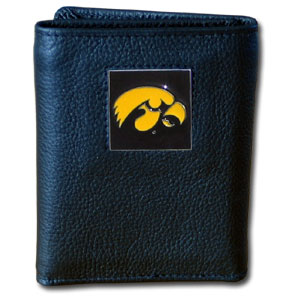 College Tri-fold - Iowa Hawkeyes - Our Iowa Hawkeyes College collectors leather/nylon tri-fold wallet features a sculpted and hand painted team square on a black leather trifold. Includes an ID window, slots for credit cards and clear plastic photo sleeves.  For a sporty feel, the liner of the wallet is high quality nylon. Thank you for shopping with CrazedOutSports.com
