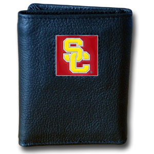College Tri-fold - USC Trojans - Our College collectors leather/nylon tri-fold wallet features a sculpted and hand painted team square on a black leather trifold. Includes an ID window, slots for credit cards and clear plastic photo sleeves.  For a sporty feel, the liner of the wallet is high quality nylon. Thank you for shopping with CrazedOutSports.com