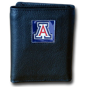 College Tri-fold - Arizona Wildcats - Our College collectors leather/nylon tri-fold wallet features a sculpted and hand painted Arizona Wildcats team square on a black leather trifold. Includes an ID window, slots for credit cards and clear plastic photo sleeves.  For a sporty feel, the liner of the wallet is high quality nylon. Thank you for shopping with CrazedOutSports.com