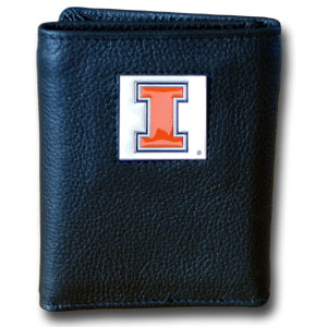 College Tri-fold - Illinois Fighting Illini - This Illinois Fighting Illini College collectors leather/nylon tri-fold wallet features a sculpted and hand painted team square on a black leather trifold. Includes an ID window, slots for credit cards and clear plastic photo sleeves.  For a sporty feel, the liner of the wallet is high quality nylon. Thank you for shopping with CrazedOutSports.com