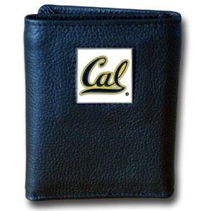 College Tri-fold - Cal Berkeley - Our College collectors leather/nylon tri-fold wallet features a sculpted and hand painted Cal Berkeley Bears team square on a black leather trifold. Includes an ID window, slots for credit cards and clear plastic photo sleeves.  For a sporty feel, the liner of the wallet is high quality nylon. Thank you for shopping with CrazedOutSports.com