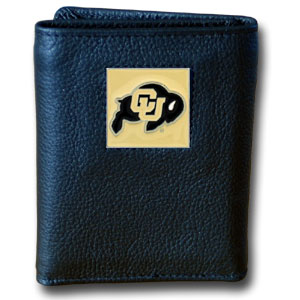 College Tri-fold - Colorado Buffaloes - Our College collectors leather/nylon tri-fold wallet features a sculpted and hand painted Colorado Buffaloes team square on a black leather trifold. Includes an ID window, slots for credit cards and clear plastic photo sleeves.  For a sporty feel, the liner of the wallet is high quality nylon. Thank you for shopping with CrazedOutSports.com