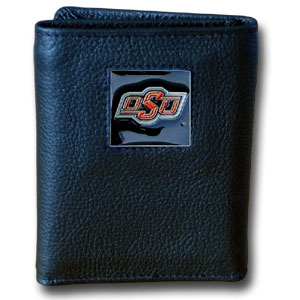College Tri-fold - Oklahoma St. Cowboys - Our College collectors leather/nylon tri-fold wallet features a sculpted and hand painted team square on a black leather trifold. Includes an ID window, slots for credit cards and clear plastic photo sleeves.  For a sporty feel, the liner of the wallet is high quality nylon. Thank you for shopping with CrazedOutSports.com