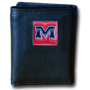 College Tri-fold - Mississippi Rebels - Our College collectors leather/nylon tri-fold wallet features a sculpted and hand painted team square on a black leather trifold. Includes an ID window, slots for credit cards and clear plastic photo sleeves.  For a sporty feel, the liner of the wallet is high quality nylon. Thank you for shopping with CrazedOutSports.com