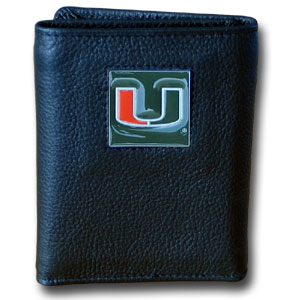 Miami Hurricanes College Tri-fold Wallet - This Miami Hurricanes College collectors leather/nylon tri-fold wallet features a sculpted and hand painted team square on a black leather trifold. Miami Hurricanes College Tri-fold Wallet includes a ID window, slots for credit cards and clear plastic photo sleeves.  For a sporty feel, the liner of the wallet is high quality nylon. Thank you for shopping with CrazedOutSports.com