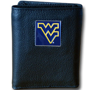 College Tri-fold - W. Virginia Mountaineers - Our College collectors leather/nylon tri-fold wallet features a sculpted and hand painted team square on a black leather trifold. Includes an ID window, slots for credit cards and clear plastic photo sleeves.  For a sporty feel, the liner of the wallet is high quality nylon. Thank you for shopping with CrazedOutSports.com