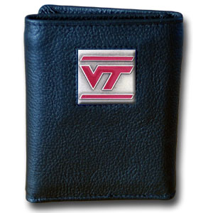 College Tri-fold - Virginia Tech Hokies - Our College collectors leather/nylon tri-fold wallet features a sculpted and hand painted team square on a black leather trifold. Includes an ID window, slots for credit cards and clear plastic photo sleeves.  For a sporty feel, the liner of the wallet is high quality nylon. Thank you for shopping with CrazedOutSports.com