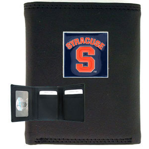 College Tri-fold - Syracuse Orange - Our College collectors leather/nylon tri-fold wallet features a sculpted and hand painted team square on a black leather trifold. Includes an ID window, slots for credit cards and clear plastic photo sleeves.  For a sporty feel, the liner of the wallet is high quality nylon. Thank you for shopping with CrazedOutSports.com