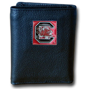 College Tri-fold - S. Carolina Gamecocks - Our College collectors leather/nylon tri-fold wallet features a sculpted and hand painted team square on a black leather trifold. Includes an ID window, slots for credit cards and clear plastic photo sleeves.  For a sporty feel, the liner of the wallet is high quality nylon. Thank you for shopping with CrazedOutSports.com