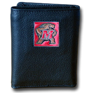 College leather/nylon tri-fold Wallet - Maryland Terrapins - This Maryland Terrapins College collectors leather/nylon tri-fold wallet features a sculpted and hand painted team square on a black leather trifold. Includes an ID window, slots for credit cards and clear plastic photo sleeves.  For a sporty feel, the liner of the wallet is high quality nylon. Thank you for shopping with CrazedOutSports.com