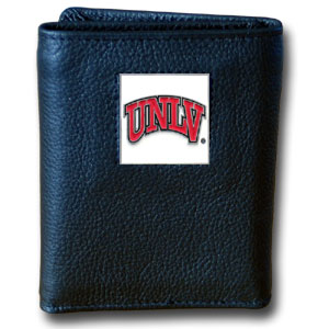 College Tri-fold - UNLV Rebels - Our College collectors leather/nylon tri-fold wallet features a sculpted and hand painted team square on a black leather trifold. Includes an ID window, slots for credit cards and clear plastic photo sleeves.  For a sporty feel, the liner of the wallet is high quality nylon. Thank you for shopping with CrazedOutSports.com