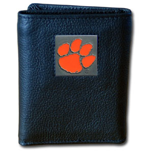 College Tri-fold - Clemson Tigers - Our College collectors leather/nylon tri-fold wallet features a sculpted and hand painted Clemson Tigers team square on a black leather trifold. Includes an ID window, slots for credit cards and clear plastic photo sleeves.  For a sporty feel, the liner of the wallet is high quality nylon. Thank you for shopping with CrazedOutSports.com