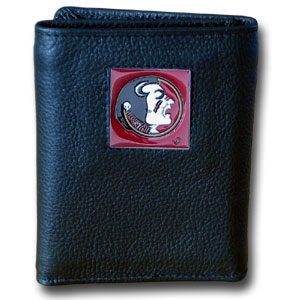 College Tri-fold - Florida St. Seminoles - Our College collectors leather/nylon tri-fold wallet features a sculpted and hand painted Florida State Seminoles square on a black leather trifold. Includes an ID window, slots for credit cards and clear plastic photo sleeves.  For a sporty feel, the liner of the wallet is high quality nylon. Thank you for shopping with CrazedOutSports.com