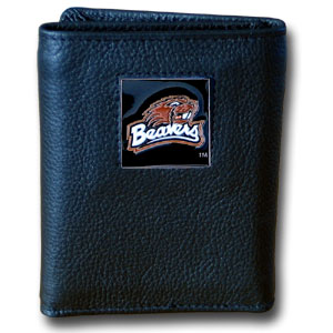 College Tri-fold - Oregon St. Beavers - Our College collectors leather/nylon tri-fold wallet features a sculpted and hand painted team square on a black leather trifold. Includes an ID window, slots for credit cards and clear plastic photo sleeves.  For a sporty feel, the liner of the wallet is high quality nylon. Thank you for shopping with CrazedOutSports.com