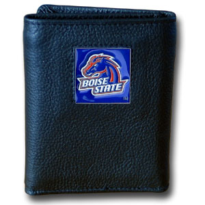 College Tri-fold - Boise St. Broncos - Our College collectors leather/nylon tri-fold wallet features a sculpted and hand painted Boise State Broncos team square on a black leather trifold. Includes an ID window, slots for credit cards and clear plastic photo sleeves.  For a sporty feel, the liner of the wallet is high quality nylon. Thank you for shopping with CrazedOutSports.com
