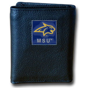 College Tri-fold - Montana St. Bobcats - Our College collectors leather/nylon tri-fold wallet features a sculpted and hand painted team square on a black leather trifold. Includes an ID window, slots for credit cards and clear plastic photo sleeves.  For a sporty feel, the liner of the wallet is high quality nylon. Thank you for shopping with CrazedOutSports.com
