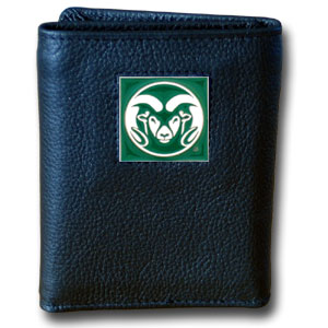 College Tri-fold - Colorado St. Rams - Our College collectors leather/nylon tri-fold wallet features a sculpted and hand painted Colorado State Rams team square on a black leather trifold. Includes an ID window, slots for credit cards and clear plastic photo sleeves.  For a sporty feel, the liner of the wallet is high quality nylon. Thank you for shopping with CrazedOutSports.com