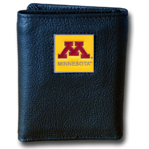 College Tri-fold Wallet - Minnesota Golden Gophers - This College collectors leather/nylon Minnesota Golden Gophers tri-fold wallet features a sculpted and hand painted team square on a black leather trifold. Includes an ID window, slots for credit cards and clear plastic photo sleeves.  For a sporty feel, the liner of the College Tri-fold Wallet - Minnesota Golden Gophers is high quality nylon. Thank you for shopping with CrazedOutSports.com