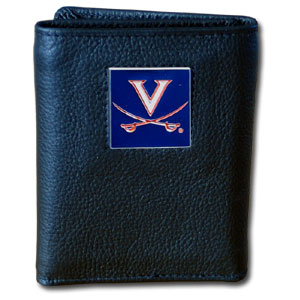 College Tri-fold - Virginia Cavaliers - Our College collectors leather/nylon tri-fold wallet features a sculpted and hand painted team square on a black leather trifold. Includes an ID window, slots for credit cards and clear plastic photo sleeves.  For a sporty feel, the liner of the wallet is high quality nylon. Thank you for shopping with CrazedOutSports.com