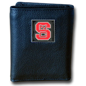 College Tri-fold - N. Carolina St. Wolfpack - Our College collectors leather/nylon tri-fold wallet features a sculpted and hand painted team square on a black leather trifold. Includes an ID window, slots for credit cards and clear plastic photo sleeves.  For a sporty feel, the liner of the wallet is high quality nylon. Thank you for shopping with CrazedOutSports.com