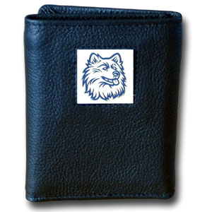 College Tri-fold - UCONN Huskies - Our College collectors leather/nylon tri-fold wallet features a sculpted and hand painted team square on a black leather trifold. Includes an ID window, slots for credit cards and clear plastic photo sleeves.  For a sporty feel, the liner of the wallet is high quality nylon. Thank you for shopping with CrazedOutSports.com