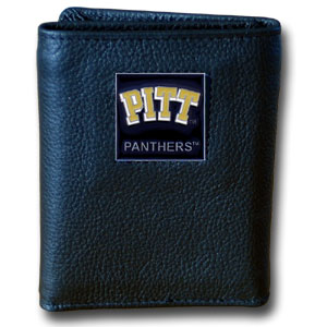College Tri-fold - PITT Panthers - Our College collectors leather/nylon tri-fold wallet features a sculpted and hand painted team square on a black leather trifold. Includes an ID window, slots for credit cards and clear plastic photo sleeves.  For a sporty feel, the liner of the wallet is high quality nylon. Thank you for shopping with CrazedOutSports.com