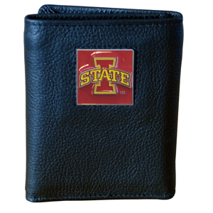 College Tri-fold - Iowa St. Cyclones - This Iowa St. Cyclones College collectors leather/nylon tri-fold wallet features a sculpted and hand painted team square on a black leather trifold. Includes an ID window, slots for credit cards and clear plastic photo sleeves.  For a sporty feel, the liner of the wallet is high quality nylon. Thank you for shopping with CrazedOutSports.com
