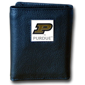 College Tri-fold - Purdue Boilermakers - Our College collectors leather/nylon tri-fold wallet features a sculpted and hand painted team square on a black leather trifold. Includes an ID window, slots for credit cards and clear plastic photo sleeves.  For a sporty feel, the liner of the wallet is high quality nylon. Thank you for shopping with CrazedOutSports.com