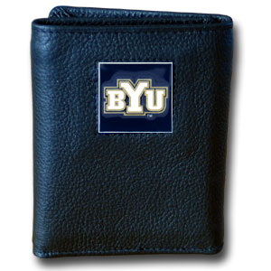 College Tri-fold - BYU Cougars - Our BYU Cougars collectors leather/nylon tri-fold wallet features a sculpted and hand painted team square on a black leather trifold. Includes an ID window, slots for credit cards and clear plastic photo sleeves.  For a sporty feel, the liner of the wallet is high quality nylon. Thank you for shopping with CrazedOutSports.com