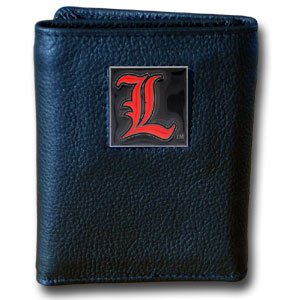 College Tri-fold - Louisville Cardinals - Louisville Cardinals College collectors leather/nylon tri-fold wallet features a sculpted and hand painted team square on a black leather Louisville Cardinals trifold. Includes an ID window, slots for credit cards and clear plastic photo sleeves.  For a sporty feel, the liner of the wallet is high quality nylon. Thank you for shopping with CrazedOutSports.com
