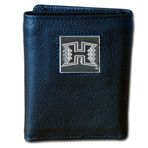 College Tri-fold - Hawaii Rainbow Warriors - Our Hawaii Rainbow Warriors College collectors leather/nylon tri-fold wallet features a sculpted and hand painted team square on a black leather trifold. Includes an ID window, slots for credit cards and clear plastic photo sleeves.  For a sporty feel, the liner of the wallet is high quality nylon.high quality nylon. Thank you for shopping with CrazedOutSports.com