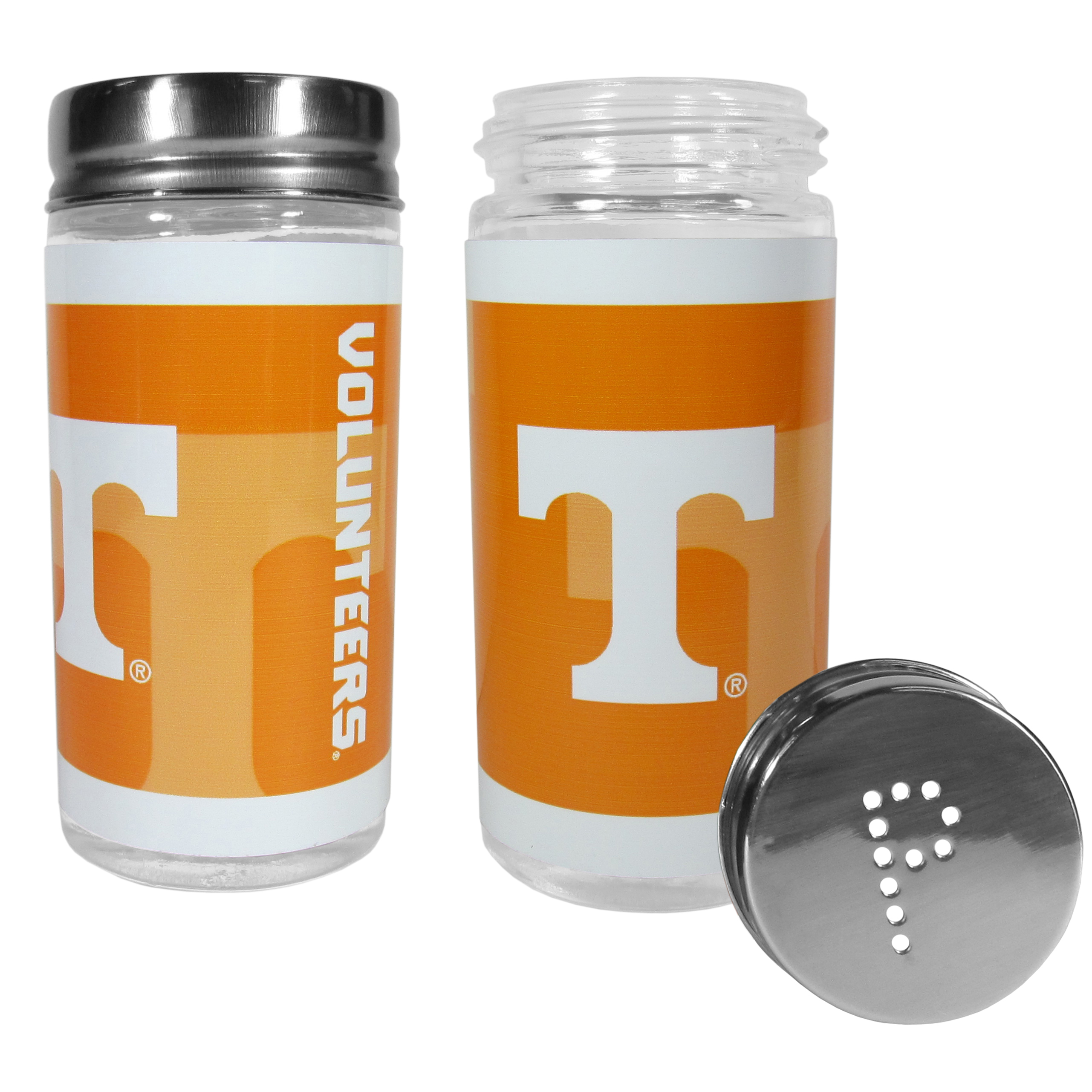 Tennessee Volunteers Tailgater Salt & Pepper Shakers - No tailgate party is complete without your Tennessee Volunteers salt & pepper shakers featuring bright team graphics. The glass shakers are 3.75 inches tall and the screw top lids have holes that spell out P and S. These team shakers are a great grill accessory whether you are barbecuing on the patio, picnicing or having a game day party.