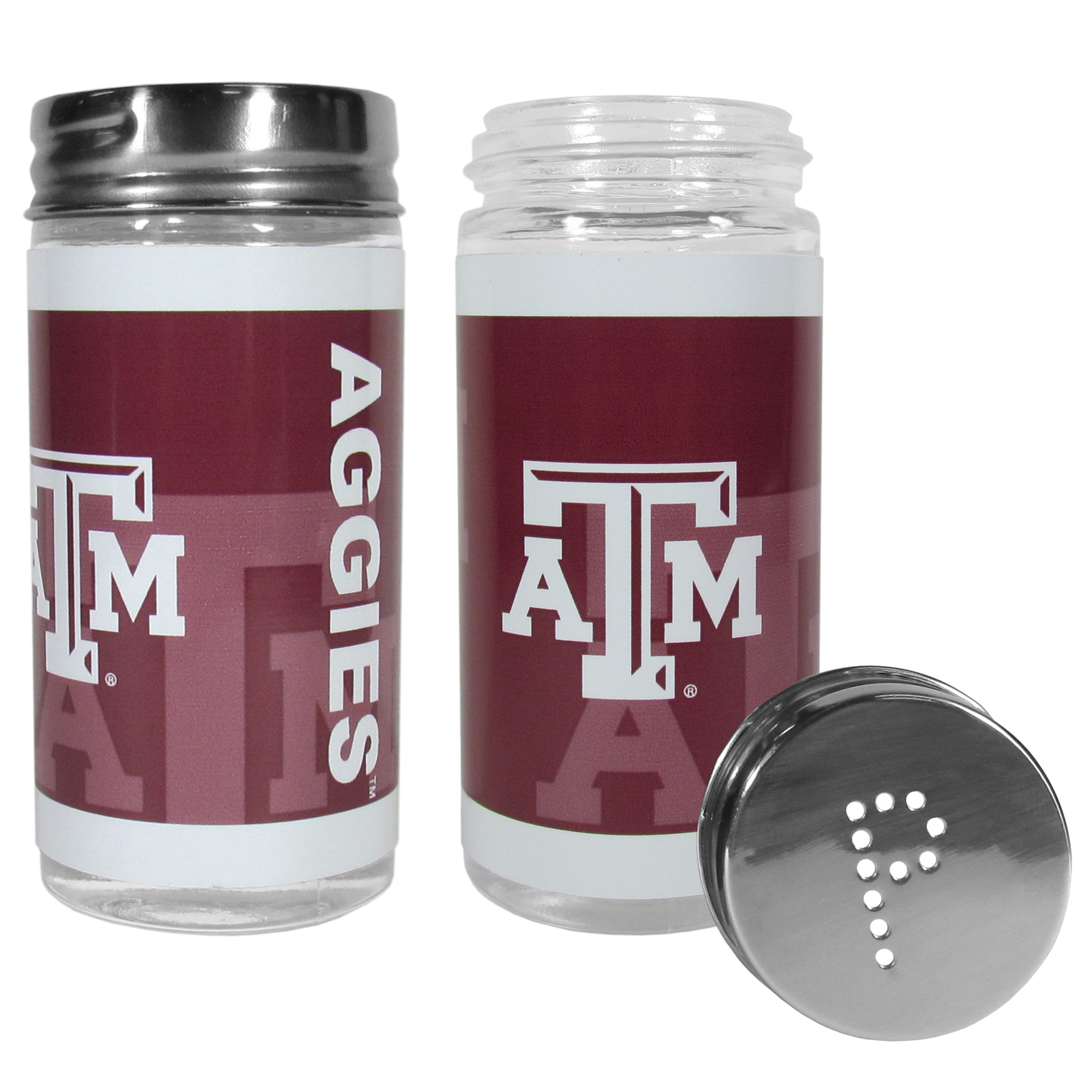 Texas A and M Aggies Tailgater Salt and Pepper Shakers - No tailgate party is complete without your Texas A & M Aggies salt & pepper shakers featuring bright team graphics. The glass shakers are 3.75 inches tall and the screw top lids have holes that spell out P and S. These team shakers are a great grill accessory whether you are barbecuing on the patio, picnicing or having a game day party.