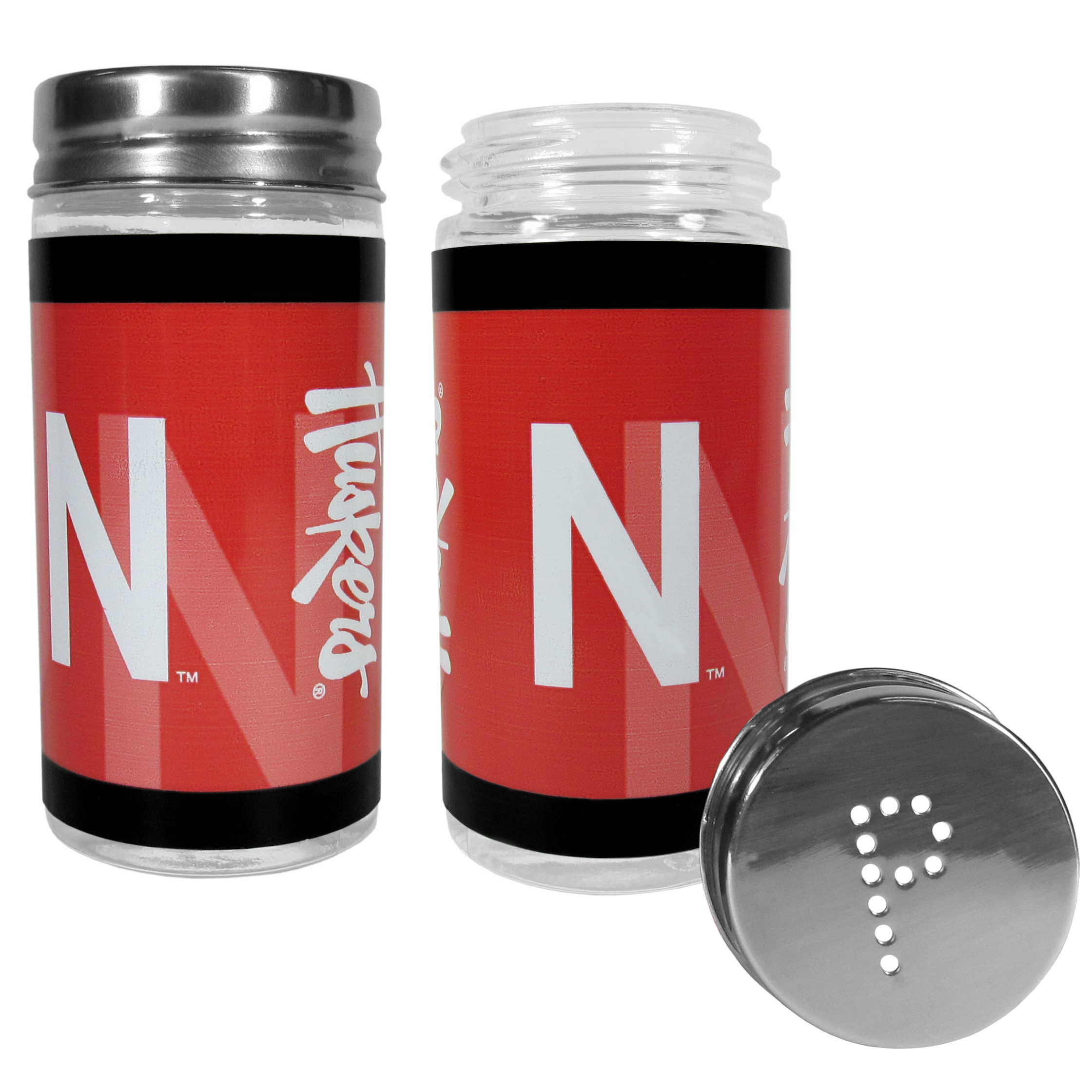 Nebraska Cornhuskers Tailgater Salt & Pepper Shakers - No tailgate party is complete without your Nebraska Cornhuskers salt & pepper shakers featuring bright team graphics. The glass shakers are 3.75 inches tall and the screw top lids have holes that spell out P and S. These team shakers are a great grill accessory whether you are barbecuing on the patio, picnicing or having a game day party.