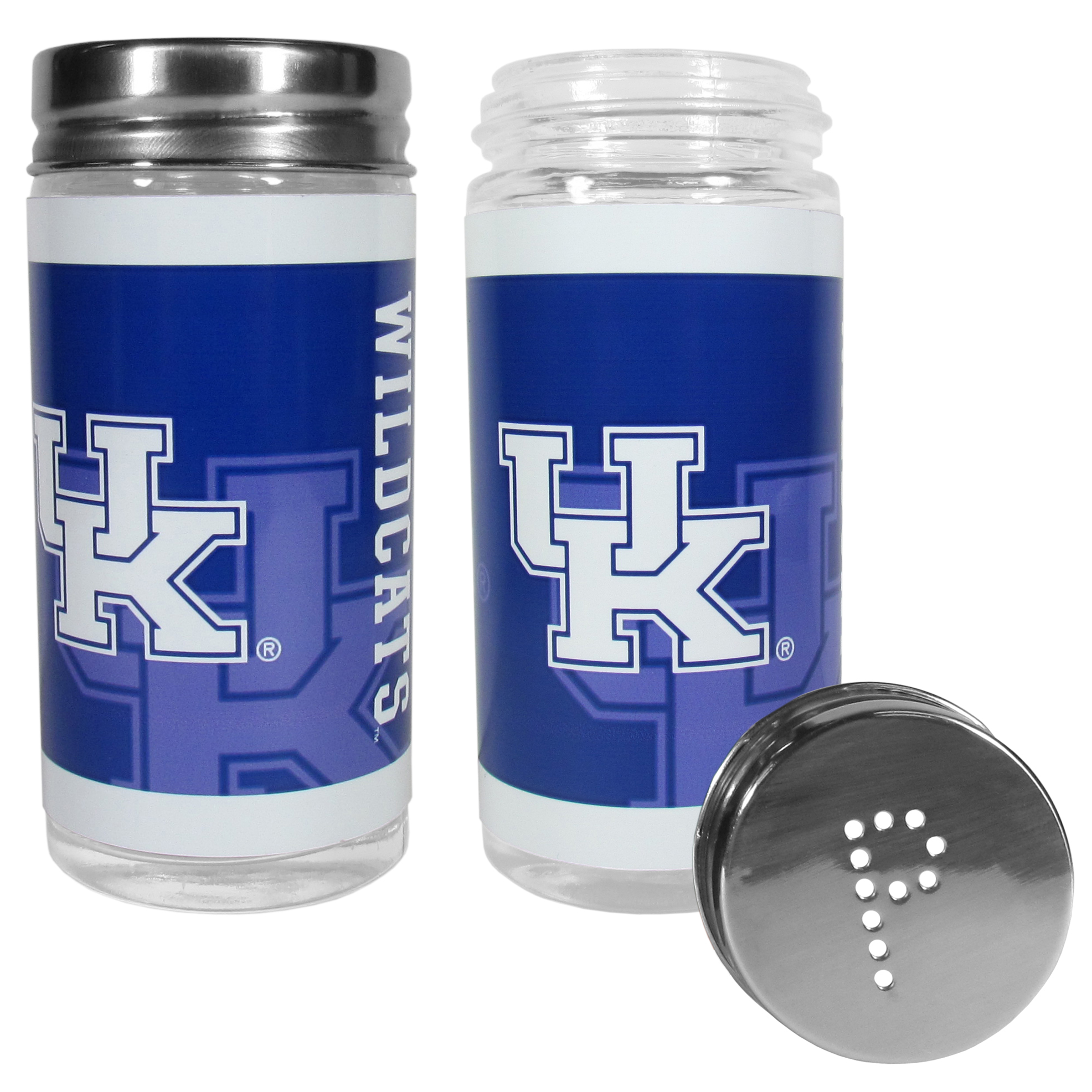 Kentucky Wildcats Tailgater Salt & Pepper Shakers - No tailgate party is complete without your Kentucky Wildcats salt & pepper shakers featuring bright team graphics. The glass shakers are 3.75 inches tall and the screw top lids have holes that spell out P and S. These team shakers are a great grill accessory whether you are barbecuing on the patio, picnicing or having a game day party.