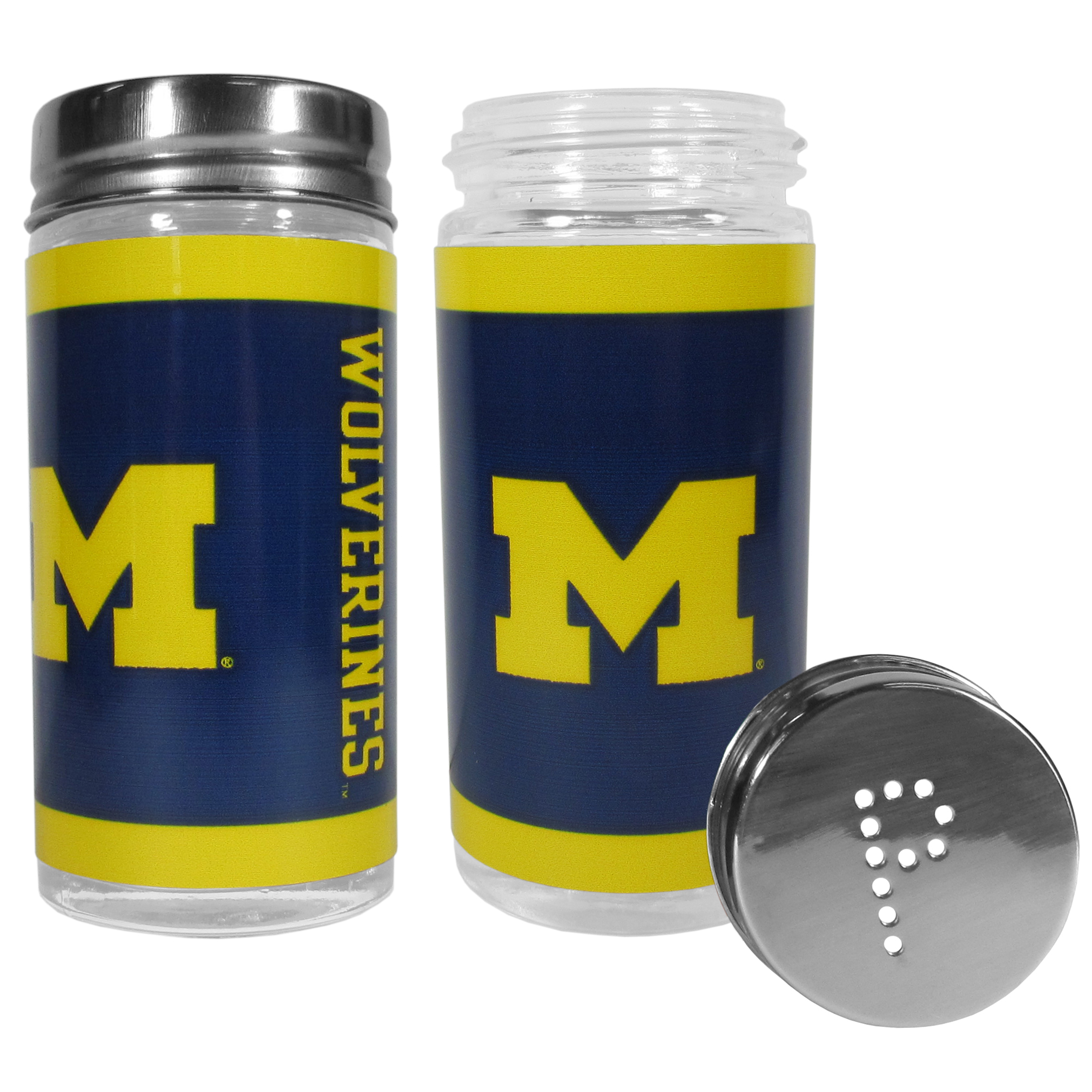 Michigan Wolverines Tailgater Salt & Pepper Shakers - No tailgate party is complete without your Michigan Wolverines salt & pepper shakers featuring bright team graphics. The glass shakers are 3.75 inches tall and the screw top lids have holes that spell out P and S. These team shakers are a great grill accessory whether you are barbecuing on the patio, picnicing or having a game day party.