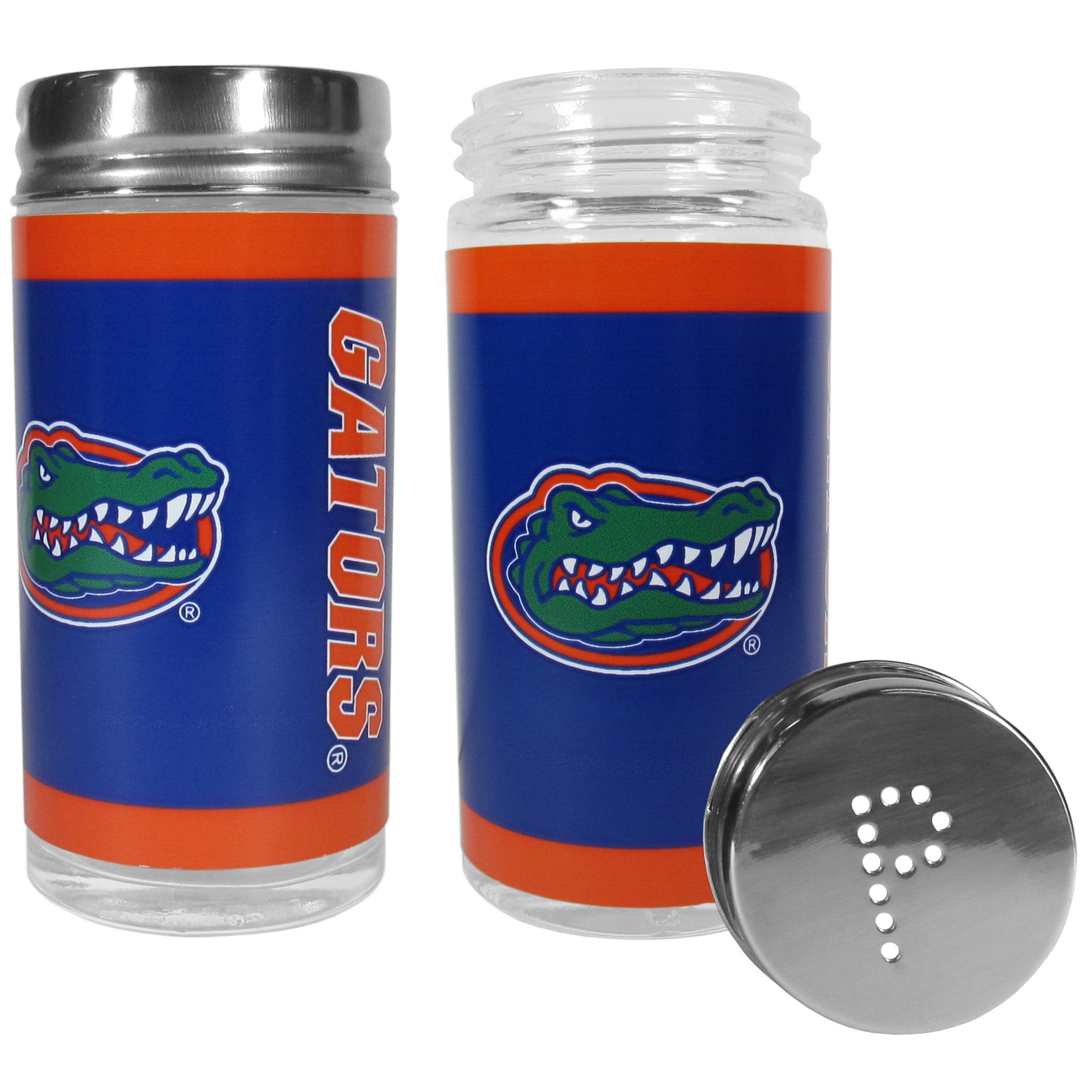 Florida Gators Tailgater Salt and Pepper Shakers - No tailgate party is complete without your Florida Gators salt & pepper shakers featuring bright team graphics. The glass shakers are 3.75 inches tall and the screw top lids have holes that spell out P and S. These team shakers are a great grill accessory whether you are barbecuing on the patio, picnicing or having a game day party.