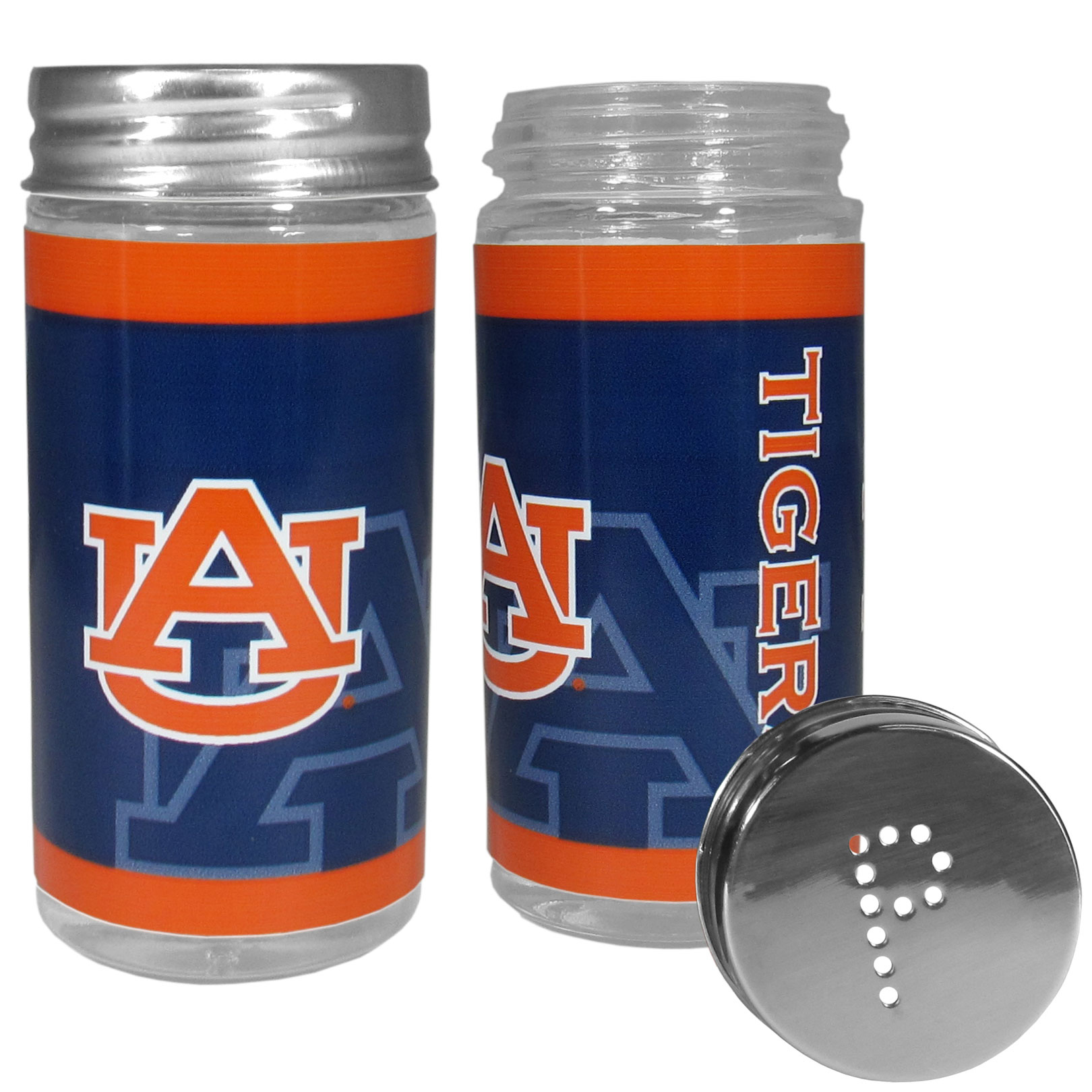 Auburn Tigers Tailgater Salt & Pepper Shakers - No tailgate party is complete without your Auburn Tigers salt & pepper shakers featuring bright team graphics. The glass shakers are 3.75 inches tall and the screw top lids have holes that spell out P and S. These team shakers are a great grill accessory whether you are barbecuing on the patio, picnicing or having a game day party.