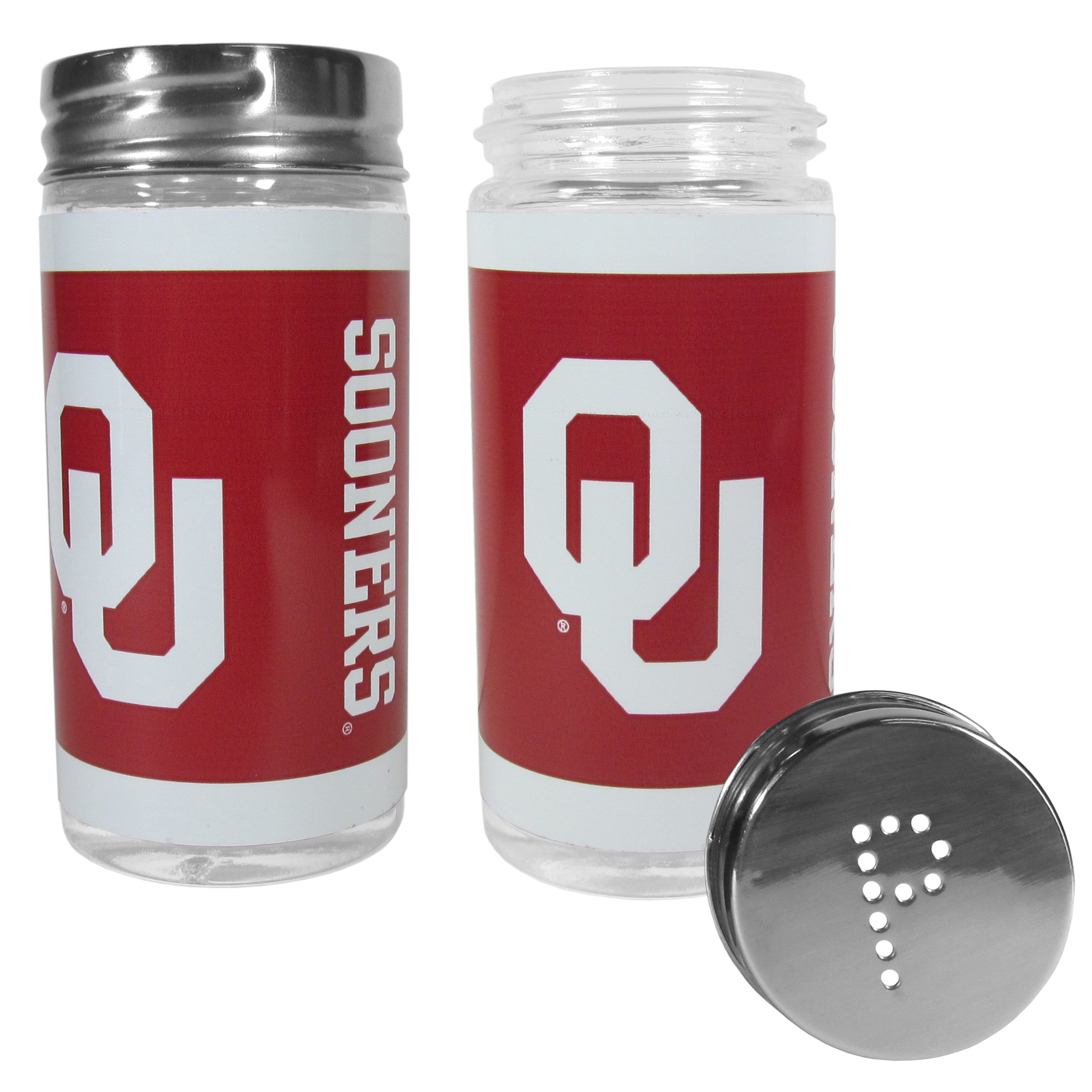 Oklahoma Sooners Tailgater Salt and Pepper Shakers - No tailgate party is complete without your Oklahoma Sooners salt & pepper shakers featuring bright team graphics. The glass shakers are 3.75 inches tall and the screw top lids have holes that spell out P and S. These team shakers are a great grill accessory whether you are barbecuing on the patio, picnicing or having a game day party.
