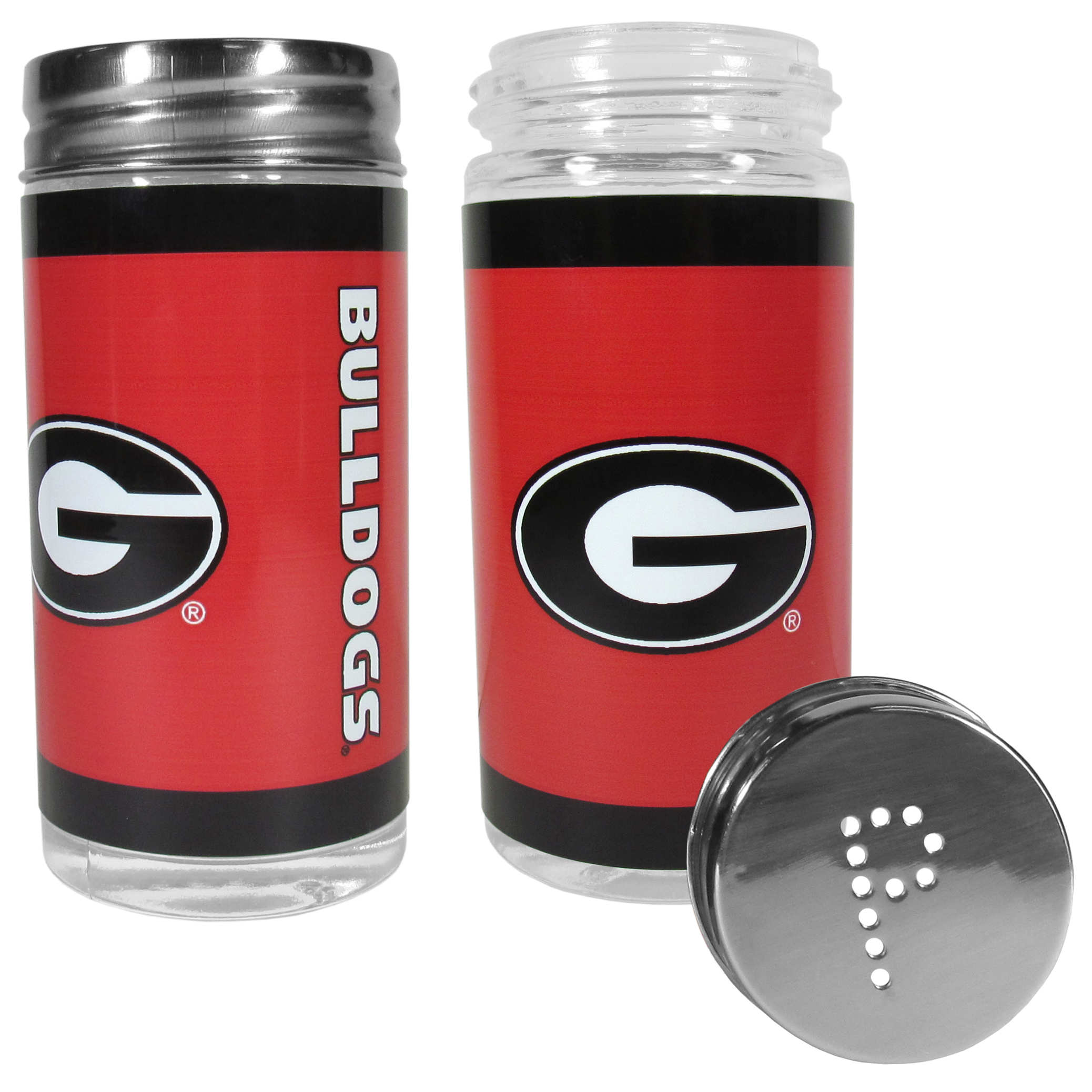 Georgia Bulldogs Tailgater Salt & Pepper Shakers - No tailgate party is complete without your Georgia Bulldogs salt & pepper shakers featuring bright team graphics. The glass shakers are 3.75 inches tall and the screw top lids have holes that spell out P and S. These team shakers are a great grill accessory whether you are barbecuing on the patio, picnicing or having a game day party.