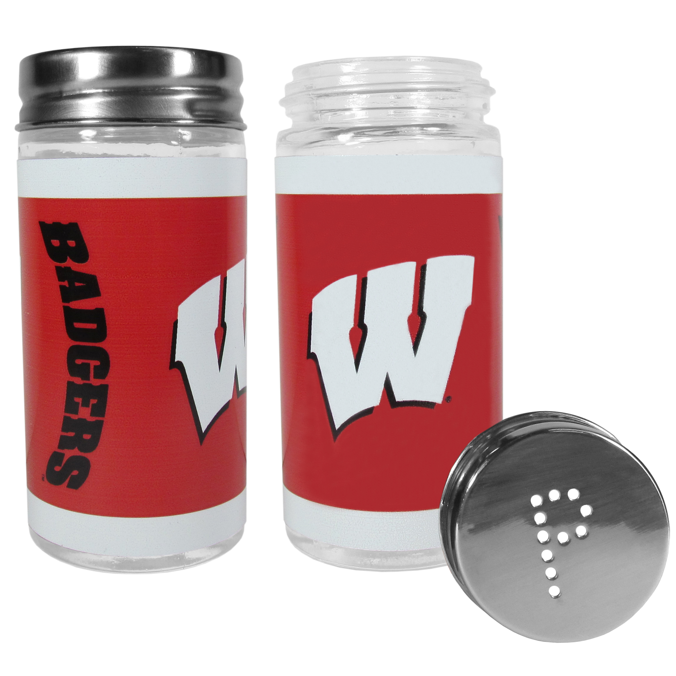 Wisconsin Badgers Tailgater Salt and Pepper Shakers - No tailgate party is complete without your Wisconsin Badgers salt & pepper shakers featuring bright team graphics. The glass shakers are 3.75 inches tall and the screw top lids have holes that spell out P and S. These team shakers are a great grill accessory whether you are barbecuing on the patio, picnicing or having a game day party.