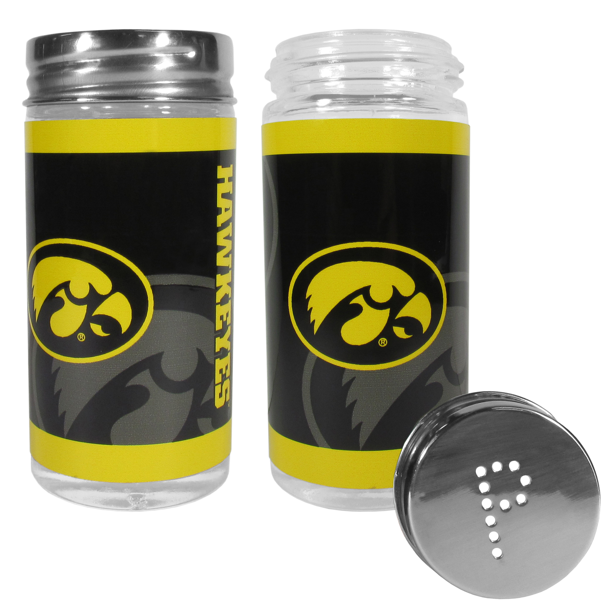 Iowa Hawkeyes Tailgater Salt and Pepper Shakers - No tailgate party is complete without your Iowa Hawkeyes salt & pepper shakers featuring bright team graphics. The glass shakers are 3.75 inches tall and the screw top lids have holes that spell out P and S. These team shakers are a great grill accessory whether you are barbecuing on the patio, picnicing or having a game day party.