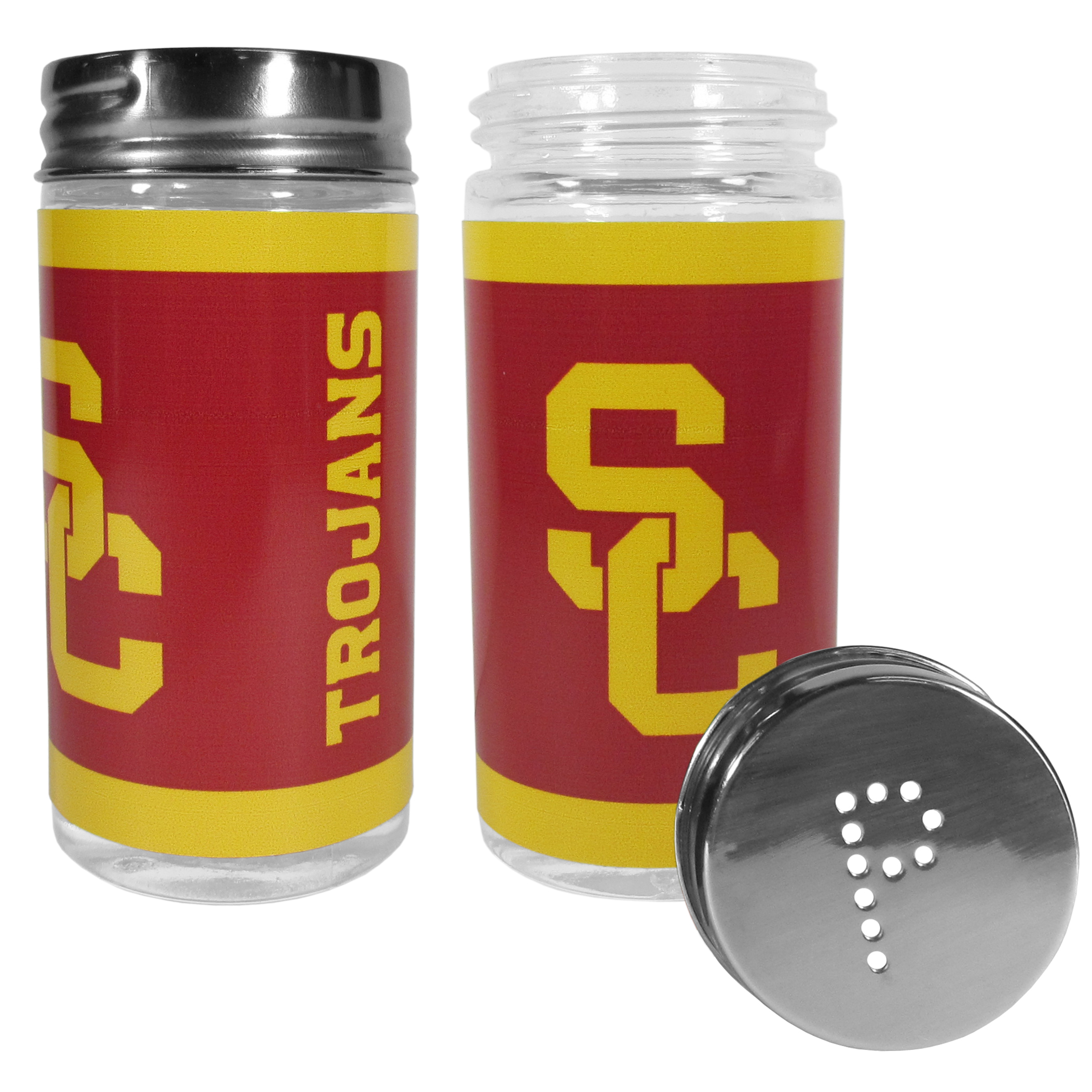 USC Trojans Tailgater Salt & Pepper Shakers - No tailgate party is complete without your USC Trojans salt & pepper shakers featuring bright team graphics. The glass shakers are 3.75 inches tall and the screw top lids have holes that spell out P and S. These team shakers are a great grill accessory whether you are barbecuing on the patio, picnicing or having a game day party.