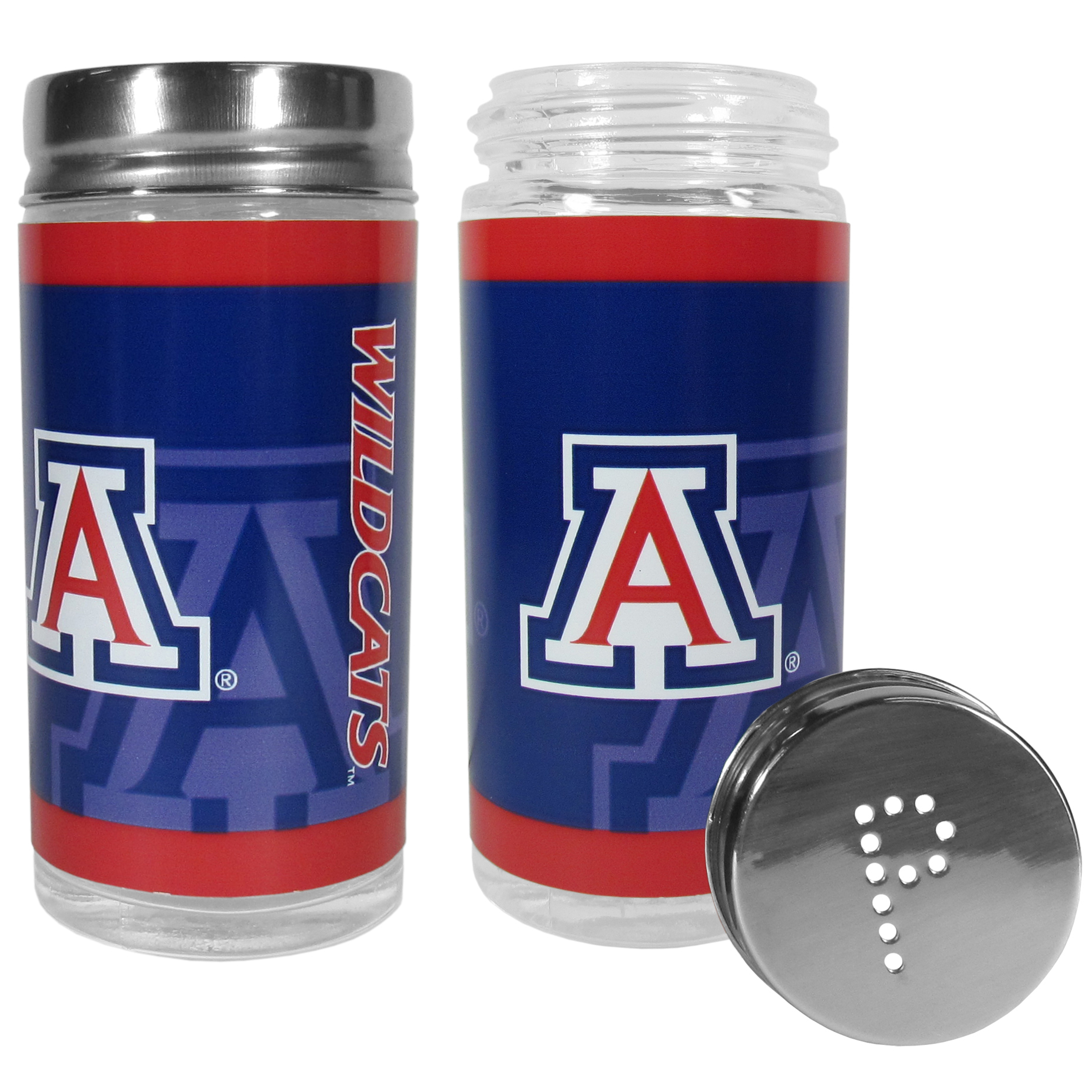Arizona Wildcats Tailgater Salt and Pepper Shakers - No tailgate party is complete without your Arizona Wildcats salt & pepper shakers featuring bright team graphics. The glass shakers are 3.75 inches tall and the screw top lids have holes that spell out P and S. These team shakers are a great grill accessory whether you are barbecuing on the patio, picnicing or having a game day party.