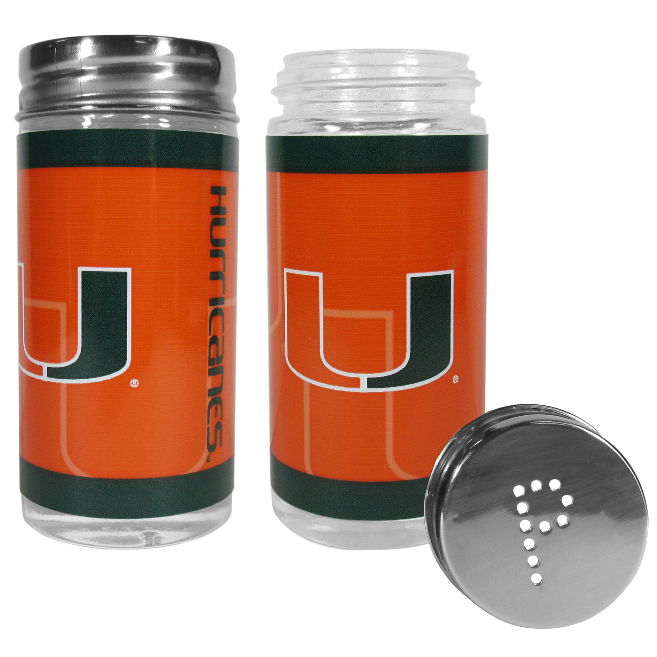 Miami Hurricanes Tailgater Salt & Pepper Shakers - No tailgate party is complete without your Miami Hurricanes salt & pepper shakers featuring bright team graphics. The glass shakers are 3.75 inches tall and the screw top lids have holes that spell out P and S. These team shakers are a great grill accessory whether you are barbecuing on the patio, picnicing or having a game day party.