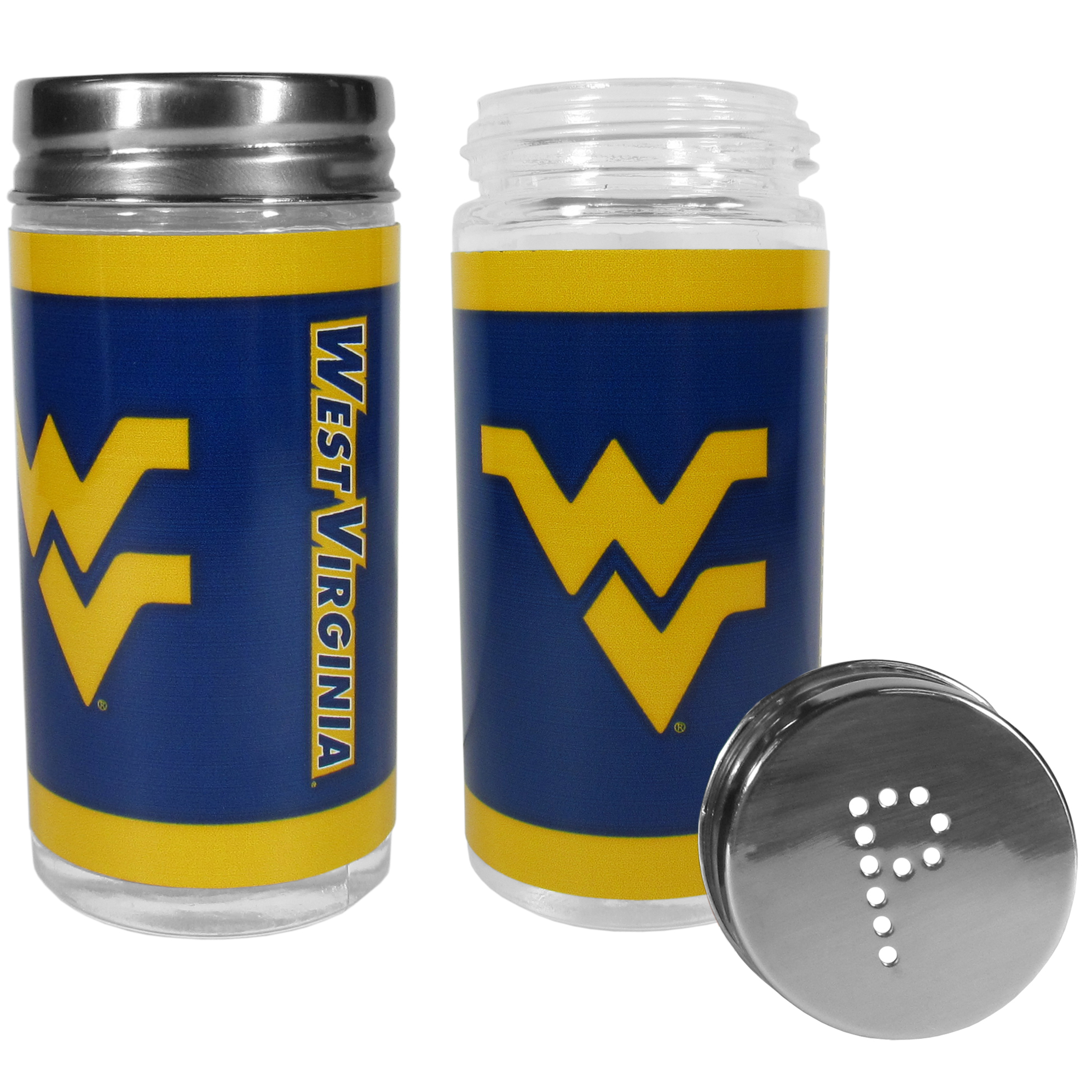 W. Virginia Mountaineers Tailgater Salt & Pepper Shakers - No tailgate party is complete without your W. Virginia Mountaineers salt & pepper shakers featuring bright team graphics. The glass shakers are 3.75 inches tall and the screw top lids have holes that spell out P and S. These team shakers are a great grill accessory whether you are barbecuing on the patio, picnicing or having a game day party.