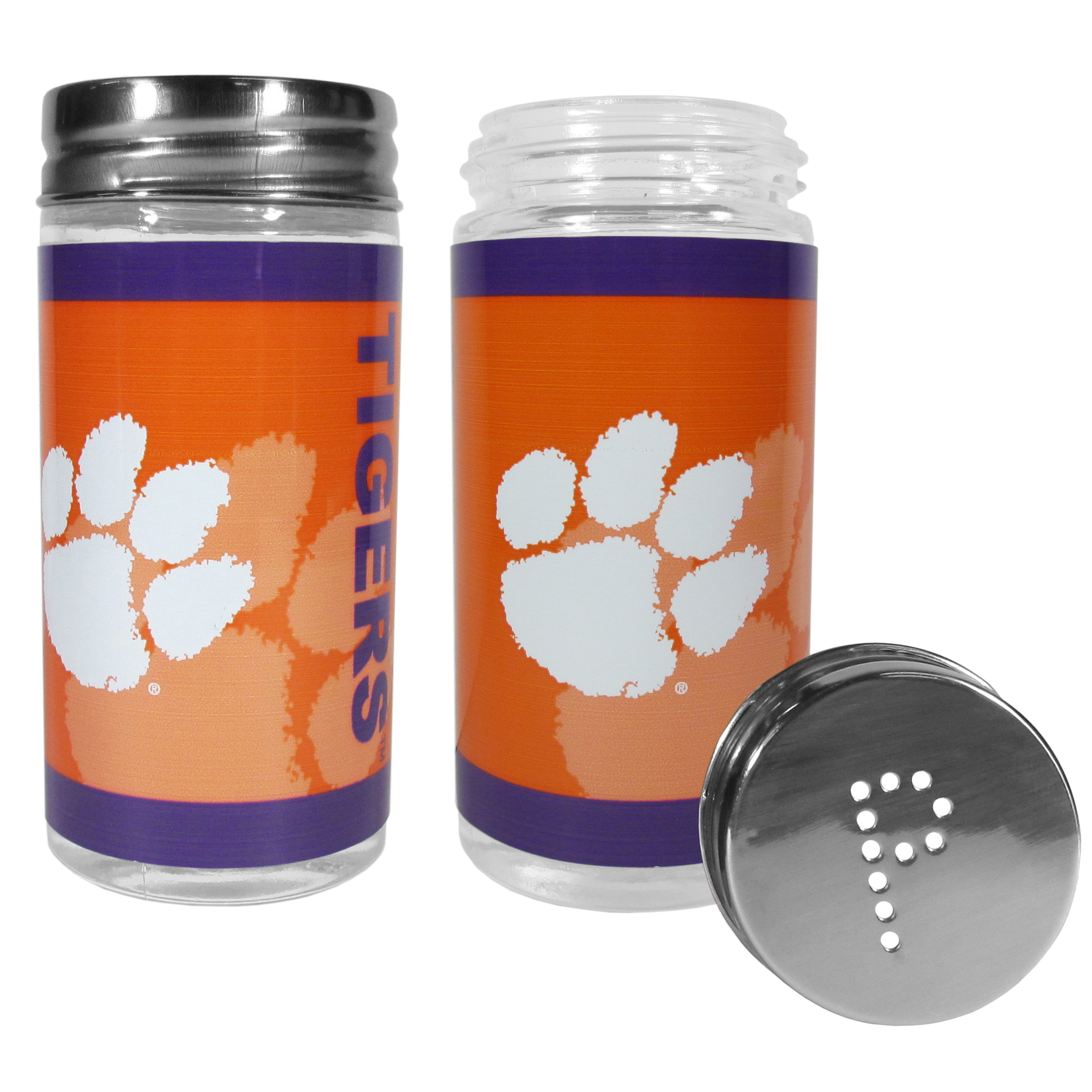 Clemson Tigers Tailgater Salt & Pepper Shakers - No tailgate party is complete without your Clemson Tigers salt & pepper shakers featuring bright team graphics. The glass shakers are 3.75 inches tall and the screw top lids have holes that spell out P and S. These team shakers are a great grill accessory whether you are barbecuing on the patio, picnicing or having a game day party.