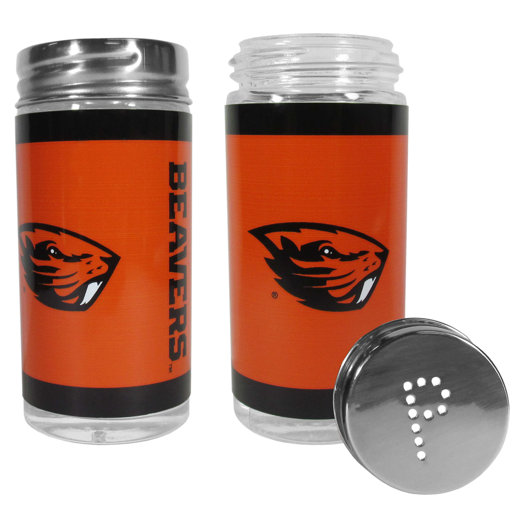 Oregon St. Beavers Tailgater Salt & Pepper Shakers - No tailgate party is complete without your Oregon St. Beavers salt & pepper shakers featuring bright team graphics. The glass shakers are 3.75 inches tall and the screw top lids have holes that spell out P and S. These team shakers are a great grill accessory whether you are barbecuing on the patio, picnicing or having a game day party.