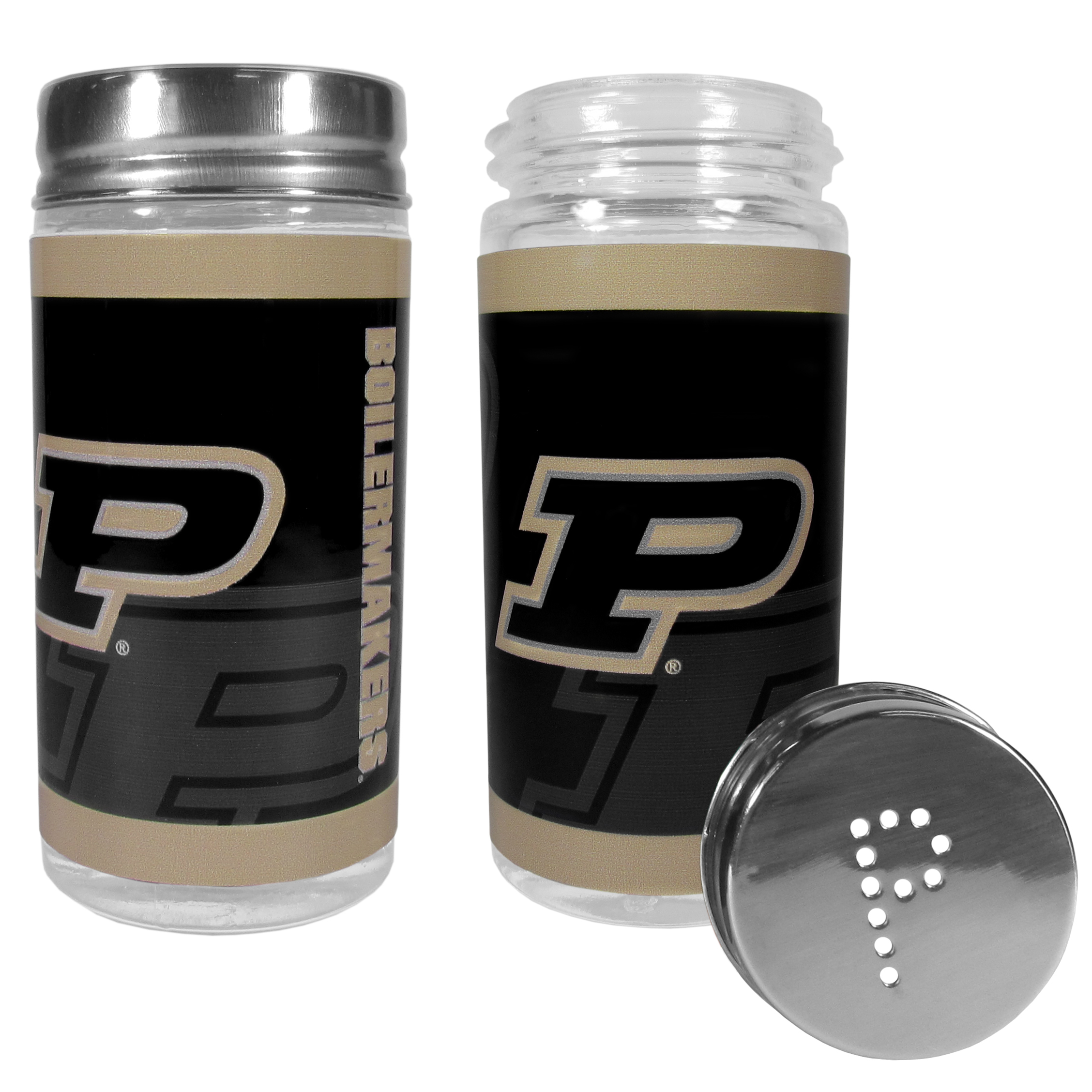 Purdue Boilermakers Tailgater Salt & Pepper Shakers - No tailgate party is complete without your Purdue Boilermakers salt & pepper shakers featuring bright team graphics. The glass shakers are 3.75 inches tall and the screw top lids have holes that spell out P and S. These team shakers are a great grill accessory whether you are barbecuing on the patio, picnicing or having a game day party.